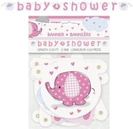 Babyshower Letterslinger olifant roze