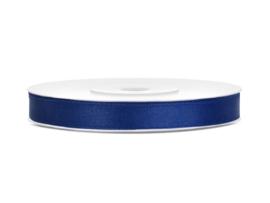 Satijn Lint - Donker Blauw - 6 mm - 25 meter