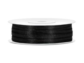 Satijn Lint - Zwart - 3 mm - 50 meter
