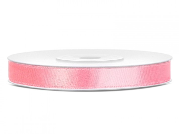 Satijn Lint licht roze in 6 mm breed