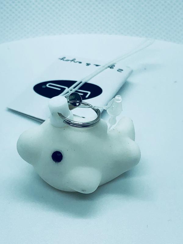 Geboortebedankje Dolfijn Mini sleutelhanger Wit