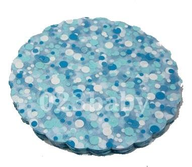 Klassieke transparante Tule met blauwe en witte dots