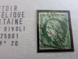 FRANCE N° 2b - vert foncé, bonne qualité (cote 1000€) (dp1/051)