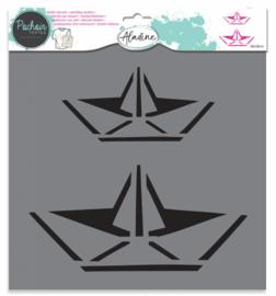 Textile Stencil Origami Boat
