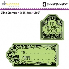 cling stamp to and from tags