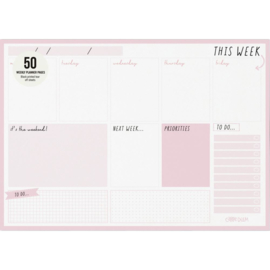 Ballerina Pink Weekly Planner Pad A4