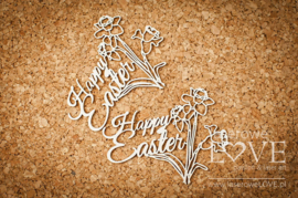 Easter Bunny Inscription Happy Easter , daffodils