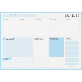 Sky Blue Weekly Planner Pad A4