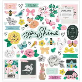 Garden Party Chipboard Stickers Icons Phrase