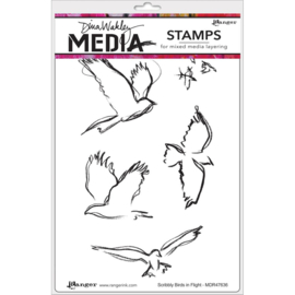 Cling Stamps Scribbly Birds In Flight
