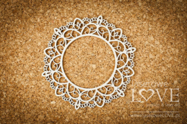 Coral, Navy Romance Round lace frame