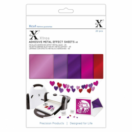 Xtra's A5 Adhesive Metal Effect Sheets Pinks