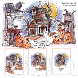 TryFolds Cling Rubber Stamps Haunted House