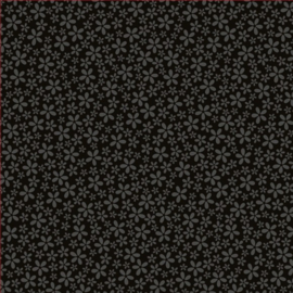 Patterned single-sided black flowers