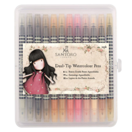 Gorjuss Watercolour Dual-tip Pens (12pk) - Santoro - Neutrals