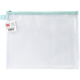 Zippered Vinyl Mesh Pouch Aqua-Large