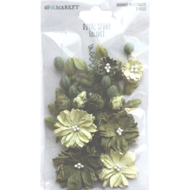 Royal Spray Paper Flowers Olive