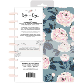 """Day-To-Day Undated Dashboard Planner 7.5""""X9.5"""" Blue & Pink Rose"""