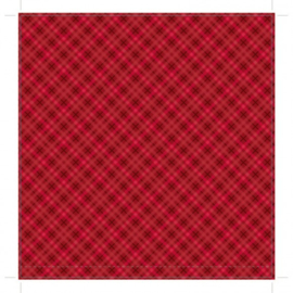 patterned single-sided red plaid
