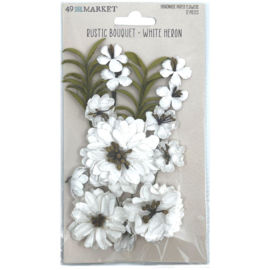 Rustic Bouquet Paper Flowers White Heron
