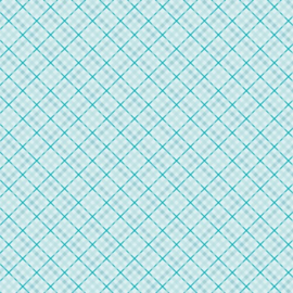 Patterned single-sided teal plaid