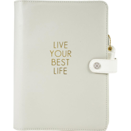 Live Your Best Life - Grey  A5 Faux Leather 6-Ring Planner Binder