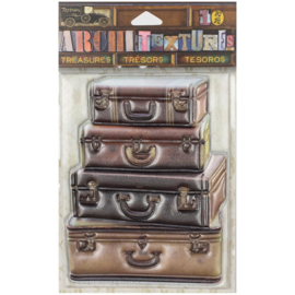 Architextures Treasures Stacked Leather Suitcases
