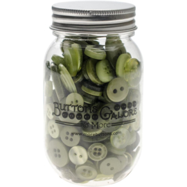 Button Mason Jars Leafy Green