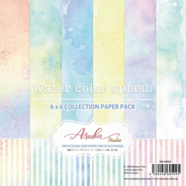 "Watercolor Splash Paper Pack 6""X6"""