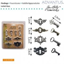 Locket keys x4, keyholes x4, fasteners x8