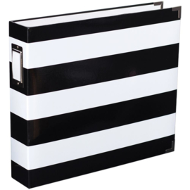 "Black & White Stripe D-Ring Album 12""X12"""