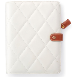 "White Diamond A5 Faux Leather 6-Ring Planner Binder 7.5""X10"""