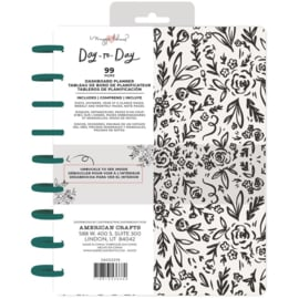 """Day-To-Day Undated Dashboard Planner 7.5""""X9.5"""" Black & White Floral"""