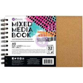 Mixed Media  A5 Spiral Bound Kraft Book