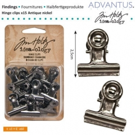Hinge clips x15 antique nickel