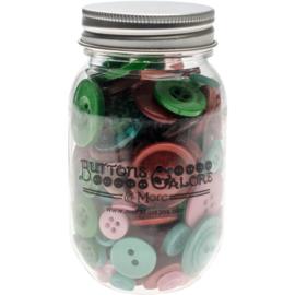 Button Mason Jars Retro Christmas