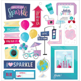 "Sparkle City Chipboard Stickers 12""X12"""