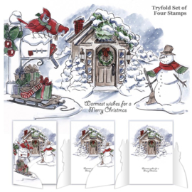 TryFolds Cling Rubber Stamps Christmas Scene