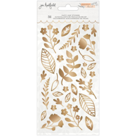 Peaceful Heart Puffy Stickers Leaf W/Gold Foil