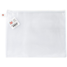 Zippered Vinyl Mesh Pouch White-Large