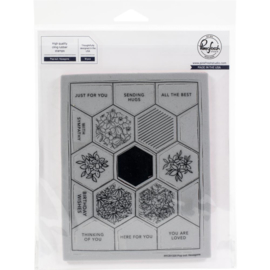 Cling Rubber Background Stamp Set A2 Pop-Out Hexagons