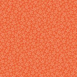 Patterned single-sided orange flower