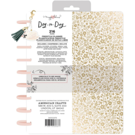 """Day-To-Day Undated Freestyle Planner 7.5""""X9.5"""" Gold Floral"""