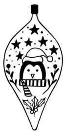 Wooden Stamp Christmas Bauble Pinguin