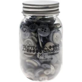 Button Mason Jars Smokey Greys