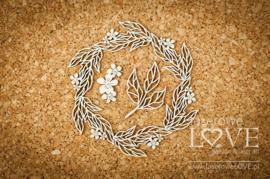 Coral, Navy Romance Wianek z liści