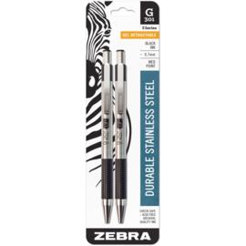 Stainless Steel Gel Retractable Pen 2 Black Ink 0.7mm Medium Point