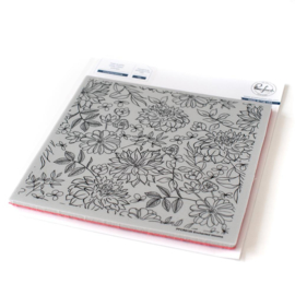 """Cling Rubber Stamp Set 6""""X6"""" Enchanted Blooms"""