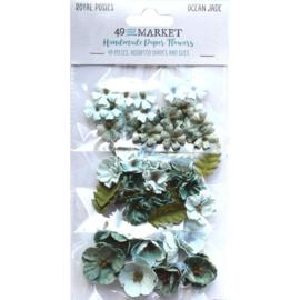 Royal Posies Paper Flowers Ocean Jade