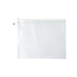 Zippered Vinyl Mesh Pouch White-Small